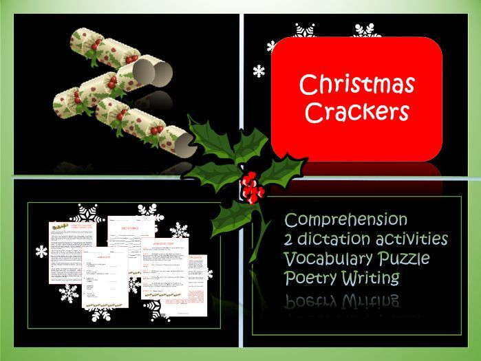 Crackers! Christmas Themed Comprehension, Dictation Activities, Vocabulary Puzzle and Poetry Writing