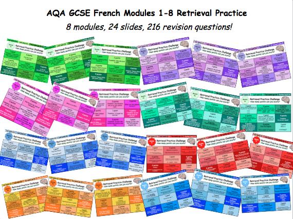 AQA GCSE French Modules 1-8 Retrieval Practice
