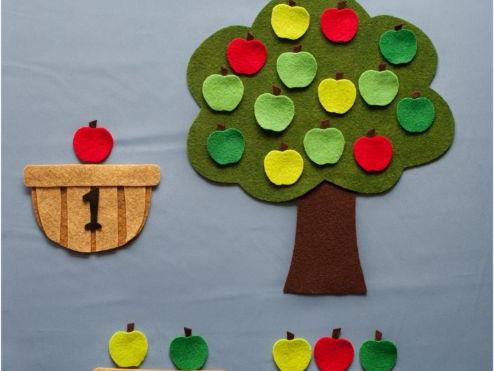 Apple Counting Baskets Felt Board Set Digital Pattern
