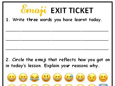 Emoji Exit Ticket - self assessment of lesson