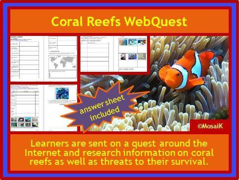 Coral Reefs WebQuest Geography Science ESL