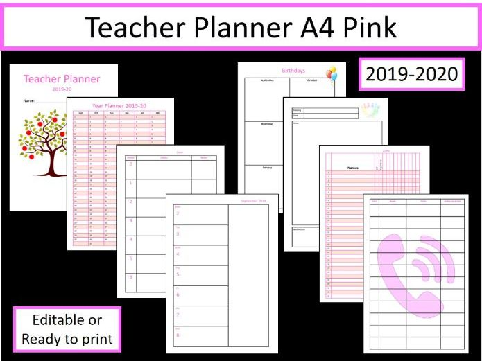 Teacher Planner 2019-2020 fully editable A4 (Pink Version)