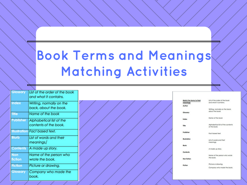 Book Terms and Meanings Cut Out and Matching Activity (ESOL/EAL/ESL/EFL/Literacy/SLD)