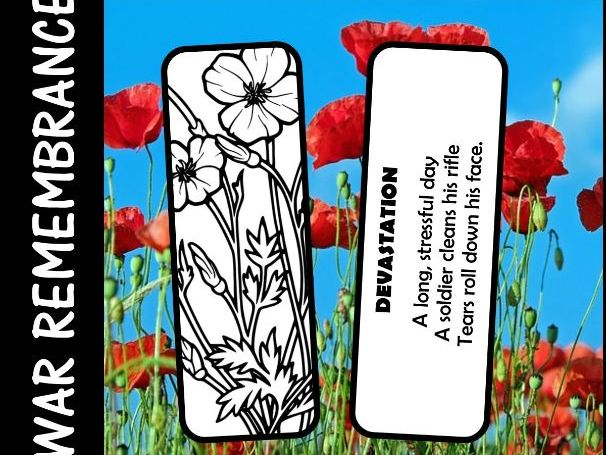Anzac Day, Armistice Day, Remembrance Day  -  Haiku Poem on a Poppy Bookmark