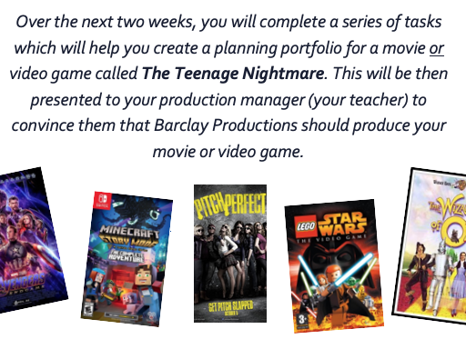 KS3 Eng Creative Project - Movies and Games