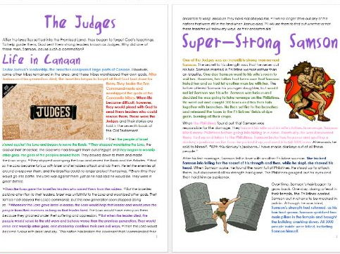 Old Testament Stories: The Judges: Differentiated Information and Activity Sheets