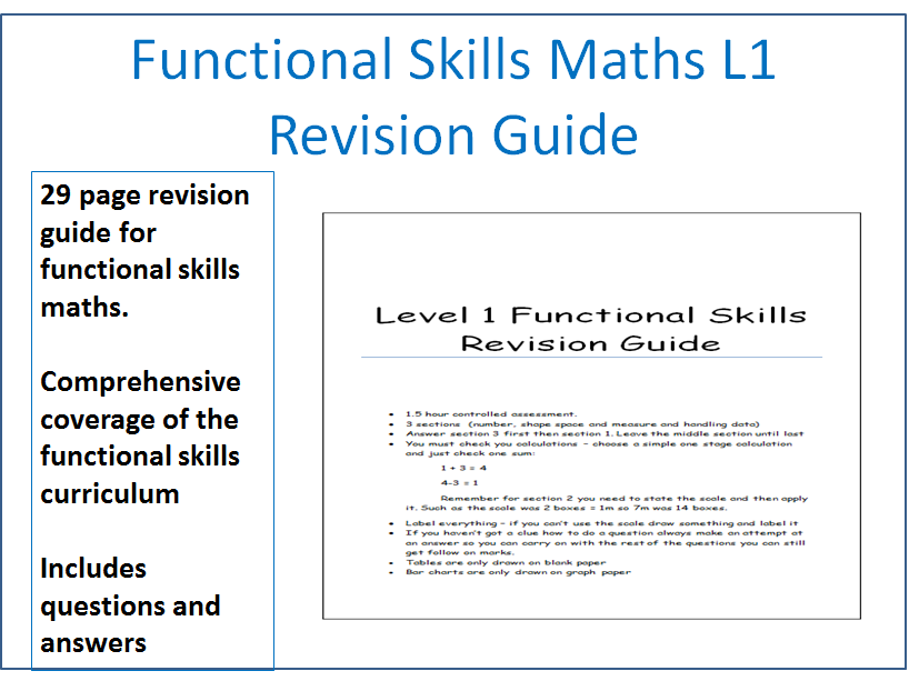 Functional Skills Maths Level 1. Revision guide / Workbook with answers