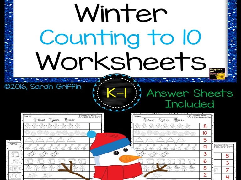 Math Worksheets - Numbers to 10 - Winter Theme
