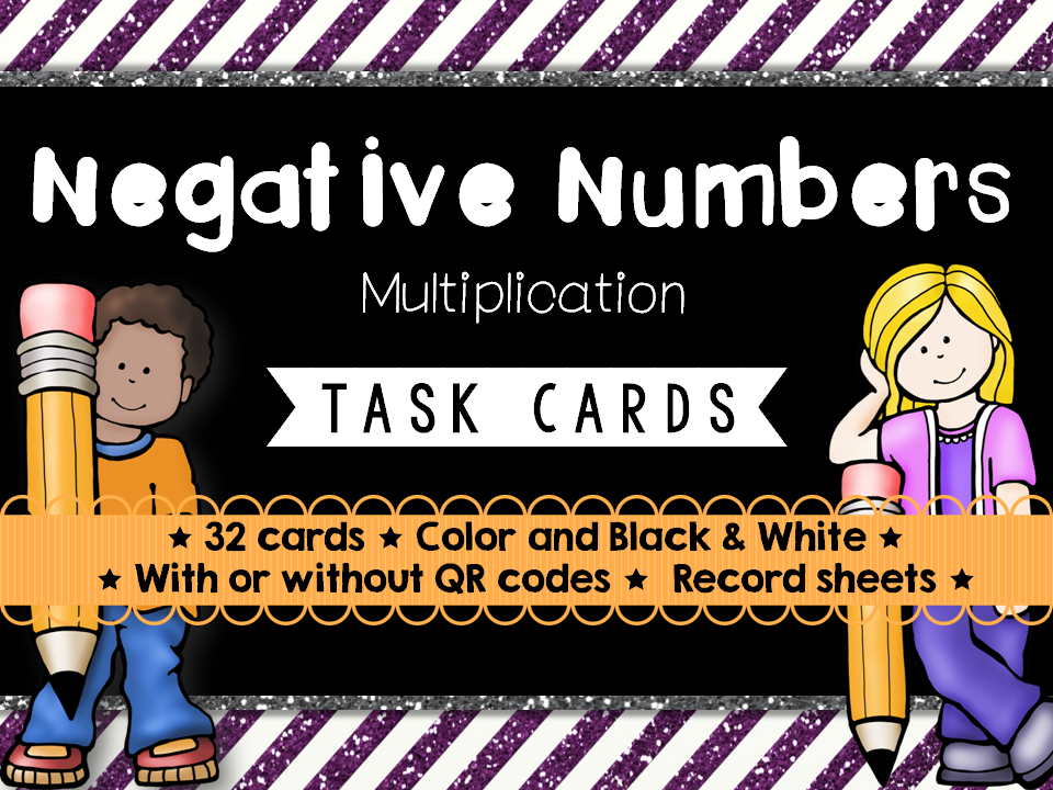 Negative Numbers Task Cards (Multiplication)