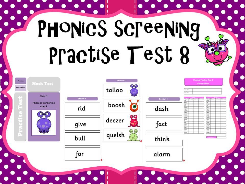 Phonics screening practise test 8
