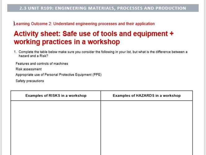 Engineering materials, processes and production LO2