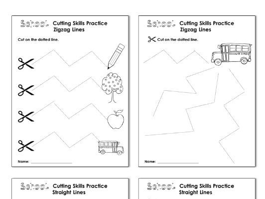 Cutting Practice Scissor Skill Worksheets {School Themed}