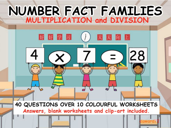 NUMBER FACT FAMILIES - Multiplication and Division - 40 Colourful Questions + Answers + Clip-art