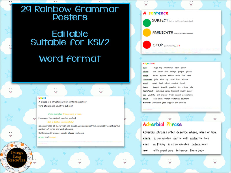 29 Editable Rainbow Grammar Posters