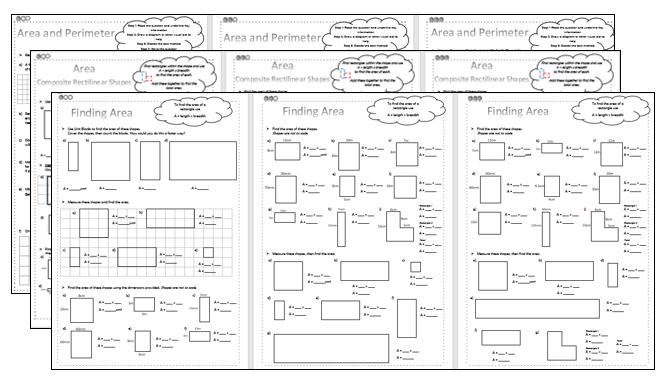 Area - Differentiated Worksheets - KS2