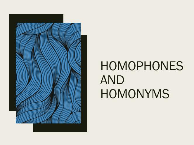 Homophones and Homonyms TEFL