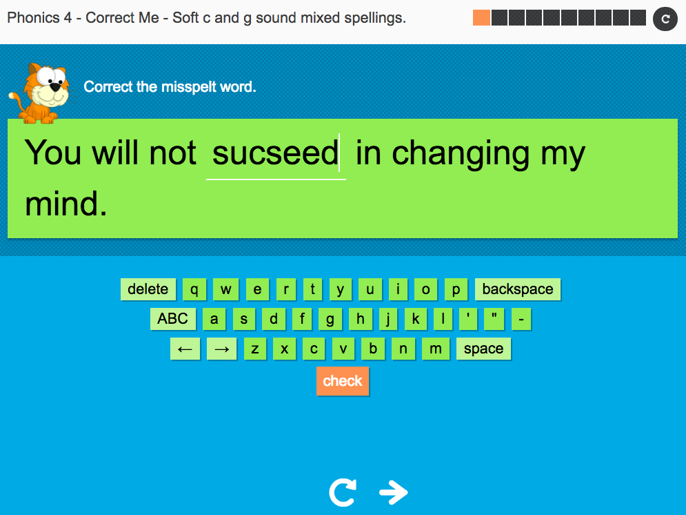 Soft c and g   - Interactive Spelling Exercise - Year 5 Spag
