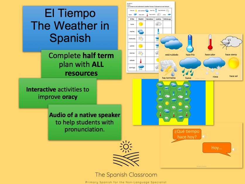 Weather in Spanish El Tiempo Whole Unit 6 Lesson Plans and Resources