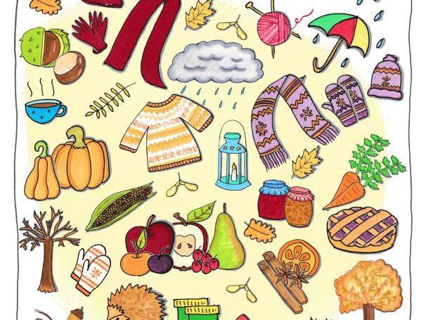 Hand drawn Autumn doodle clip art