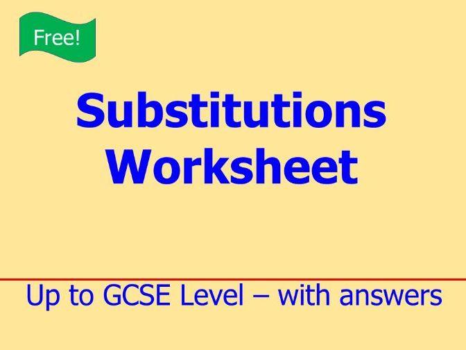 Substitutions Worksheet