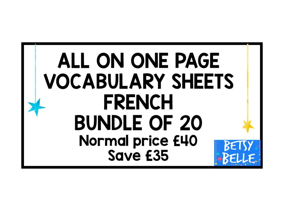 20 French vocabulary sheets