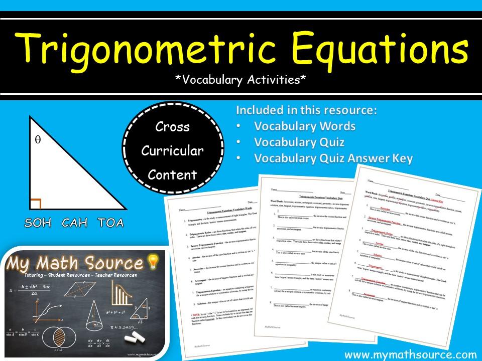 Solving Trigonometric Equations: Vocabulary Activities