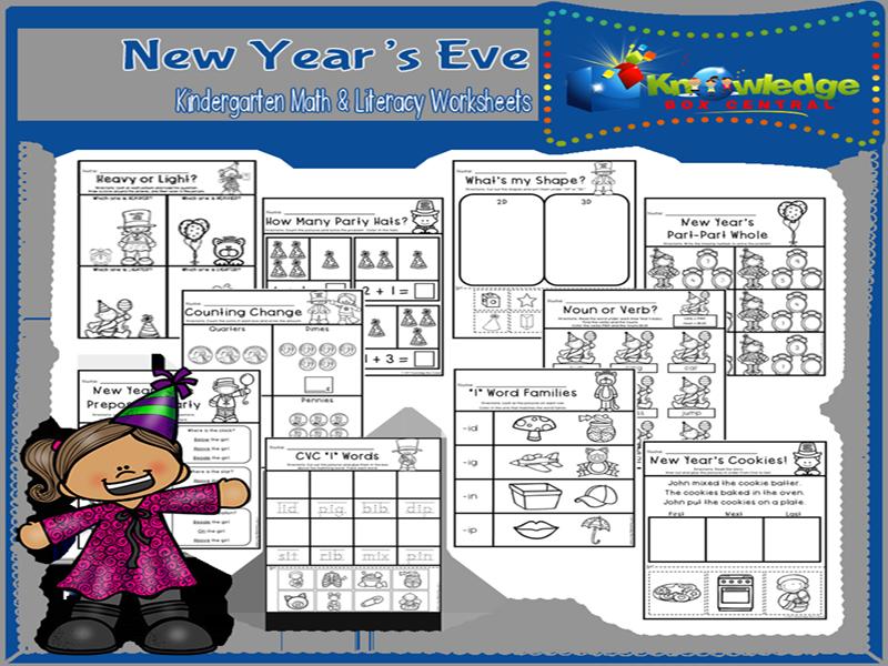 New Year's Eve Kindergarten Math & Literacy Worksheets