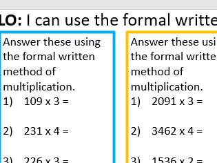 Formal written method multiplication year6