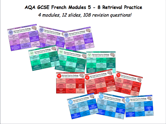 AQA GCSE French Modules 5-8 Retrieval Practice