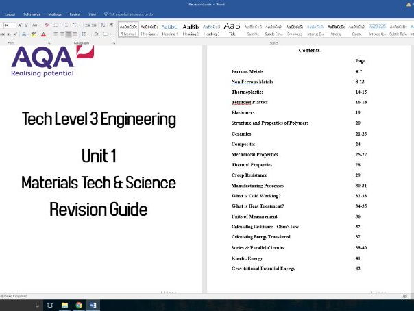 AQA Level 3 Tech Level in Engineering. Unit 1 Revision Guide