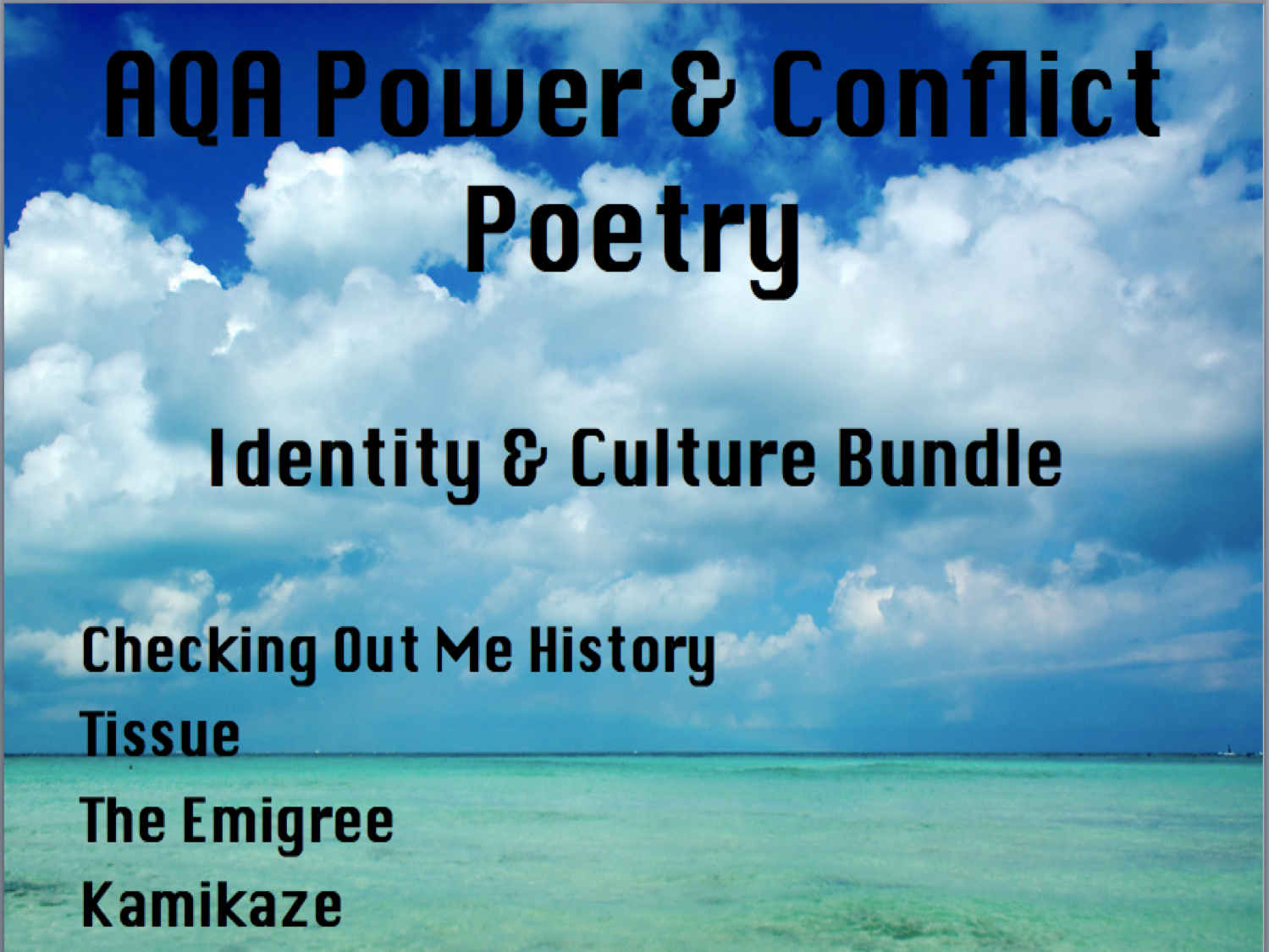 English Literature Power & Conflict Poetry- Identity and Culture Bundle-  AQA New Spec 2017