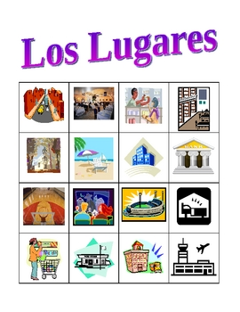 Lugares (Places in Spanish) Bingo game