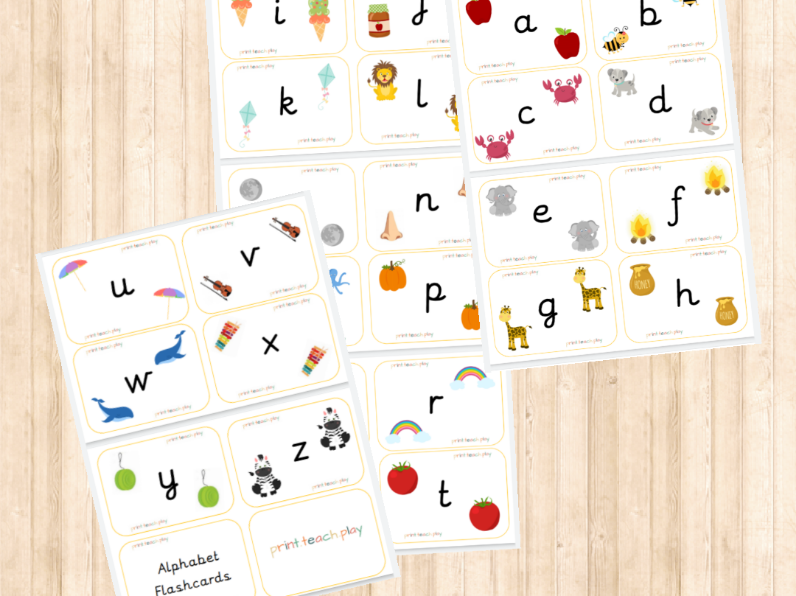 Alphabet Flash Cards - Unjoined Precursive - Lowercase