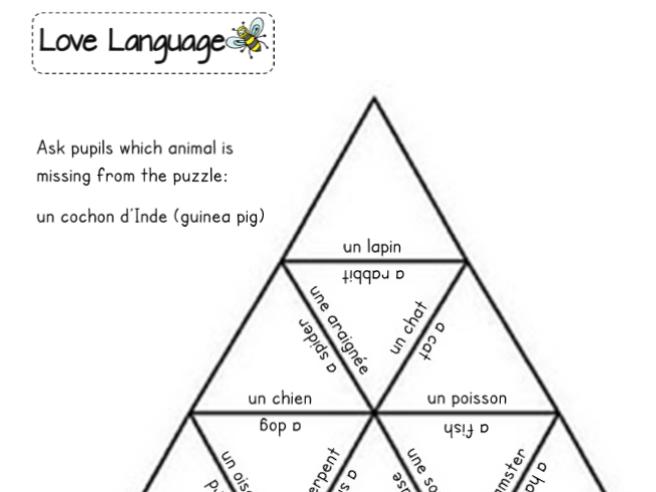 Pets in French - tarsia triangle