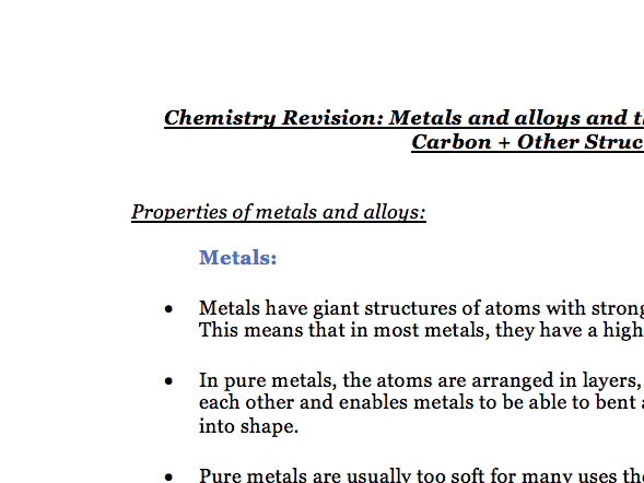 Metals+Alloys + Structure and Bonding of Carbon - Notes Chemistry AQA Combined Science GCSE