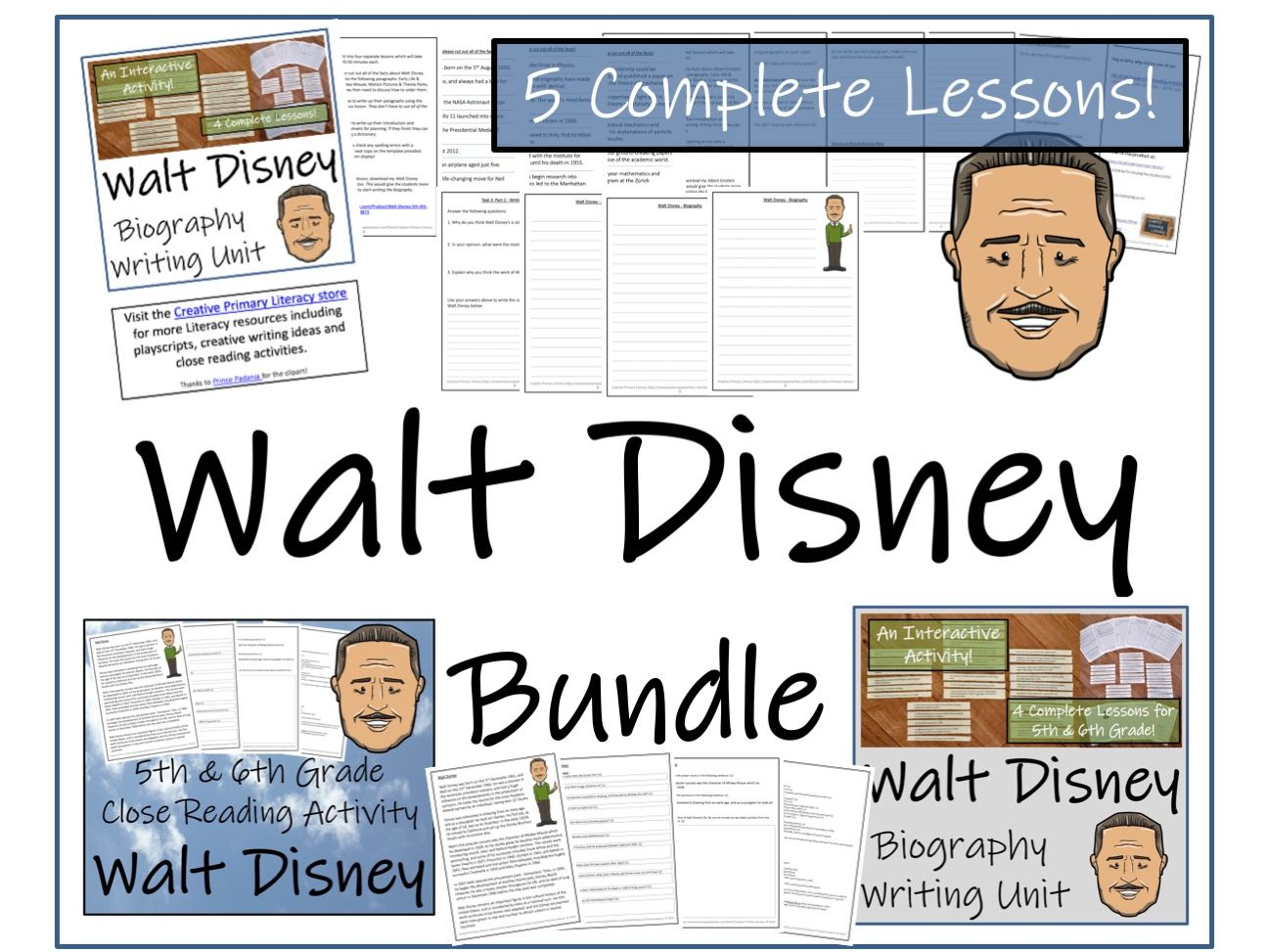 UKS2 Literacy - Walt Disney Reading Comprehension & Biography Bundle