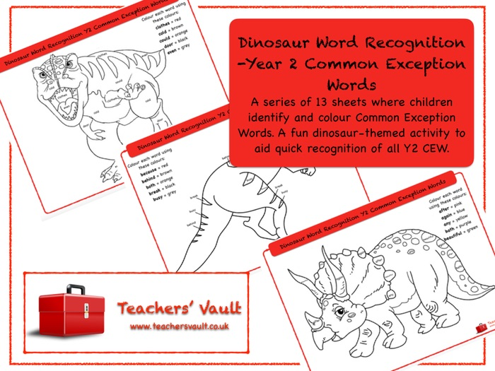 Dinosaur Word Recognition -Year 2 Common Exception Words