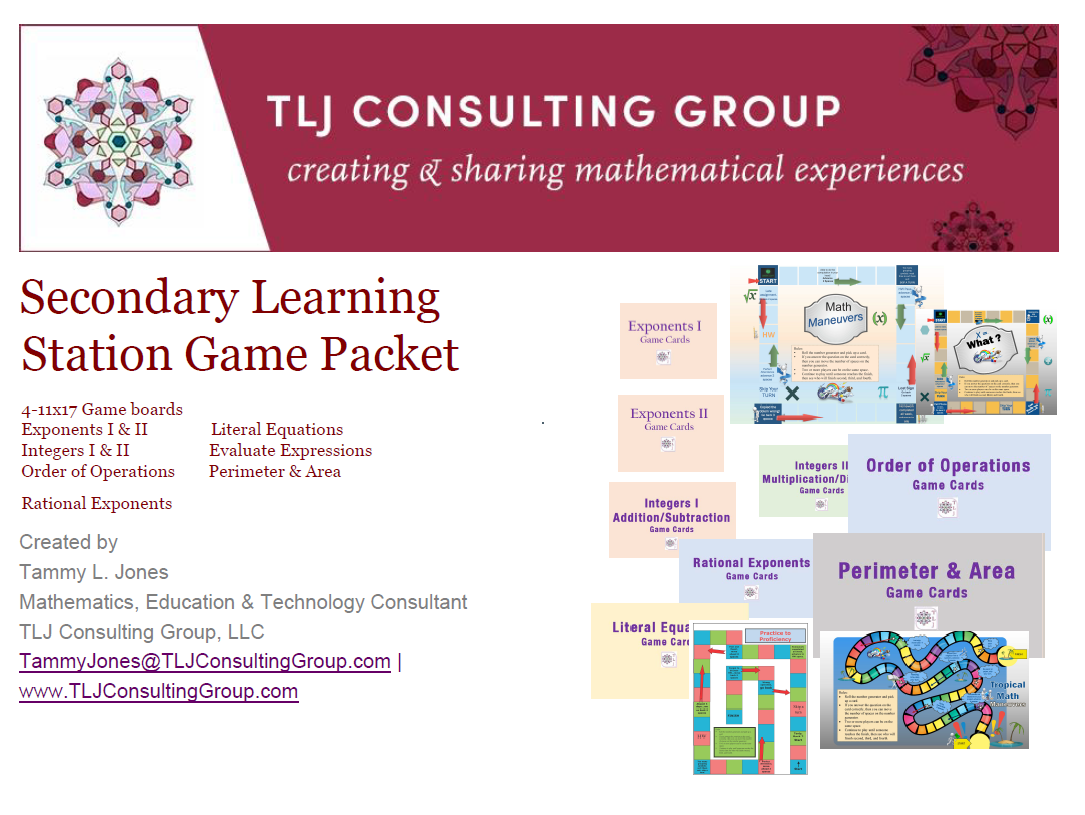 Secondary Learning Station Game Packet