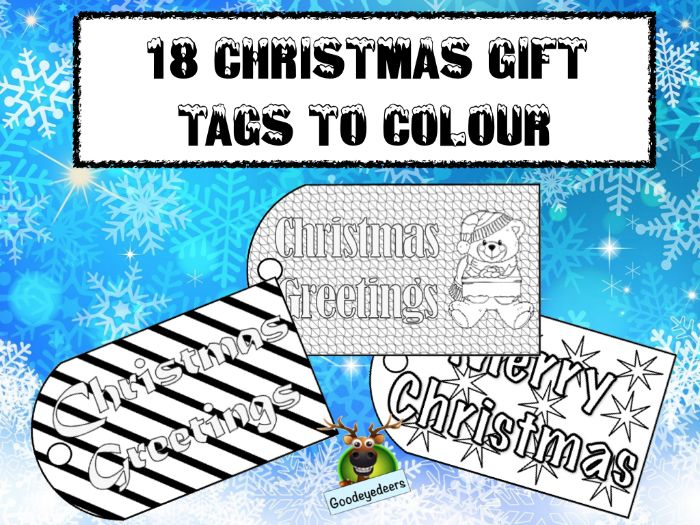 Christmas Gift Tags to Colour