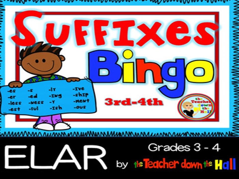 Suffixes Bingo w/ 35 Bingo Cards Grades 3-4