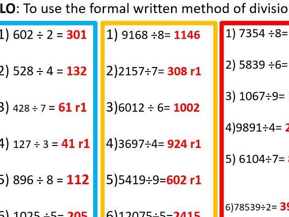 Formal written method division year 6