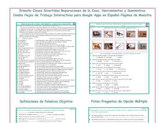 House Repairs-Tools Interactive Spanish Combo Worksheet-Google Apps