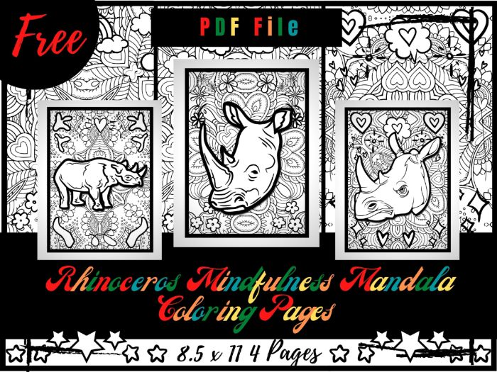 FREE Rhinoceros Mindfulness Mandala Coloring Pages, Animals Coloring Printable