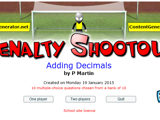 Starter and/or Plenary Game for Adding Decimals
