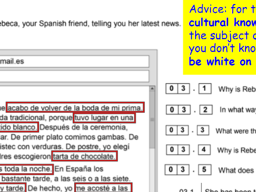 AQA NEW GCSE 9-1 Spanish Second Specimen FOUNDATION READING exam paper - advice, answers, Quizlet
