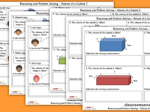 Year 6 Volume of a Cuboid Spring Block 5 Reasoning and Problem Solving Pack