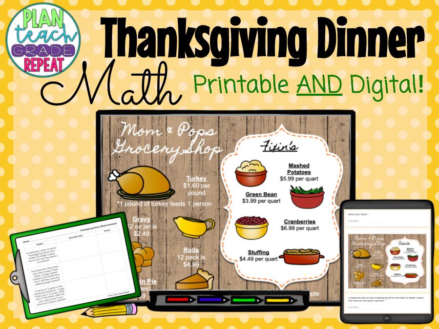 Thanksgiving Math - Multiplication Division Decimals Fractions