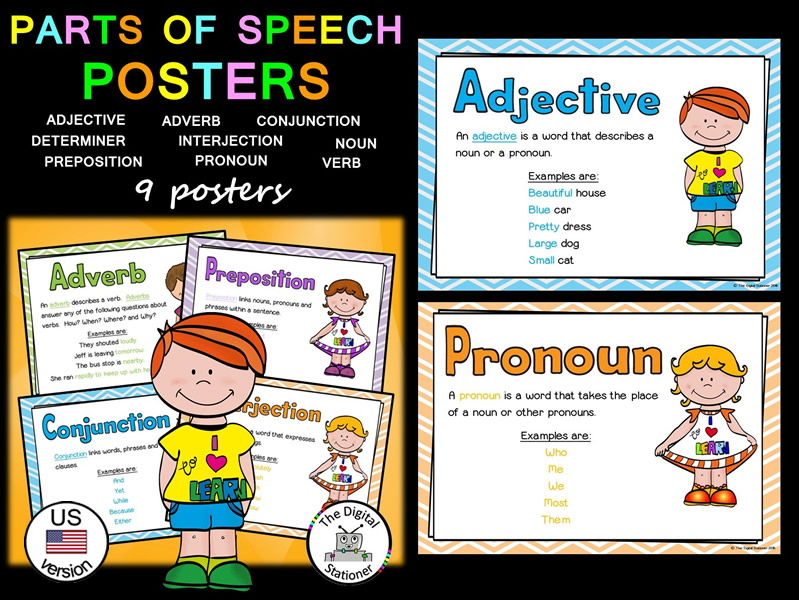 Parts of Speech (Word Classes) Posters (US version) - 9 posters