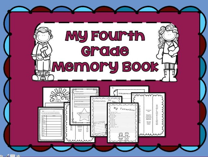 End of Year Memory Book Grade 4 - 34-pages for Interactive Notebooks And More