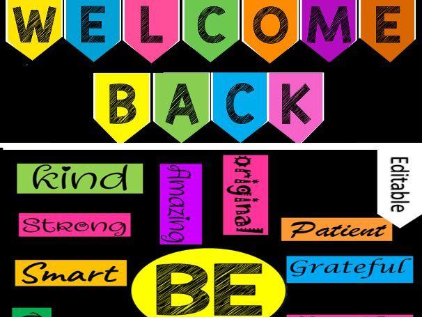 Welcome Back Bulletin Board (Editable) - Inspirational Back To School DECOR